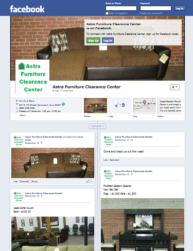 Astra Furniture Clearance Center Facebook Web Page